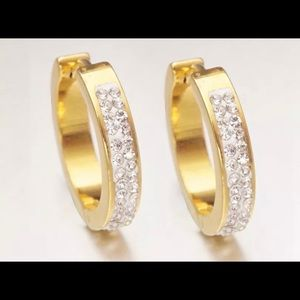 Jewelry - 14k GOLD PLATED CRYSTAL CZ ROUND HOOP EARRINGS